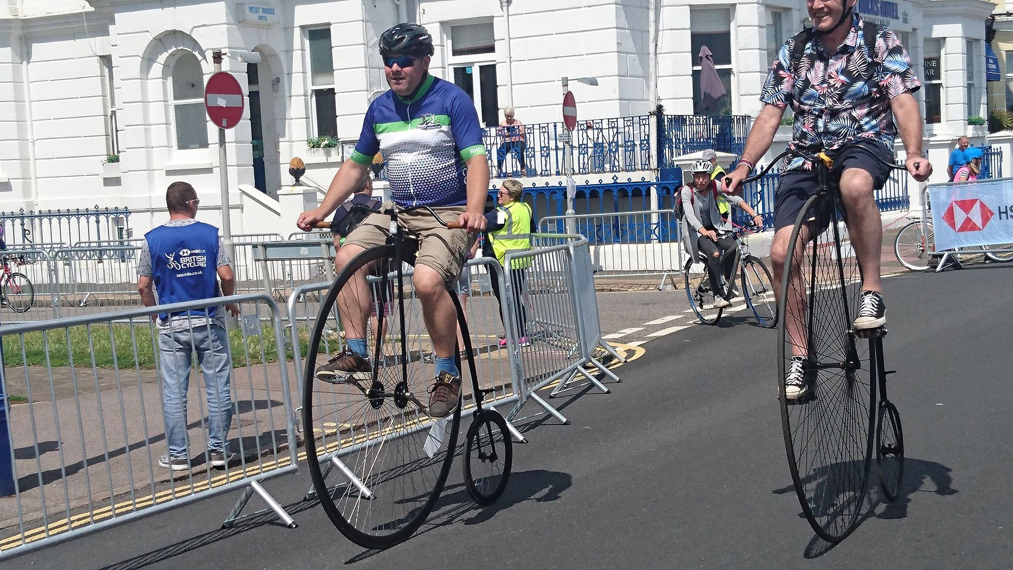 Matt riding his penny-farthing at the Eastbourne Cycling Festival